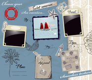 Scrapbookng poster with sea traveling elements. Royalty Free Stock Photos