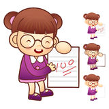 Scrape well on the test. Education and life Character Design ser Stock Images