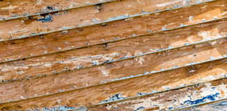 Scraped wooden boat planks texture Stock Photography