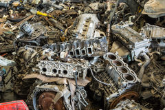 Scrapheap of car engine Royalty Free Stock Photo