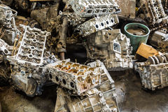Scrapheap of car engine Stock Image