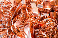 Scrapheap of copper foil (sheet) Royalty Free Stock Image