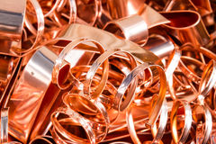 Scrapheap of copper foil (sheet) Stock Photos