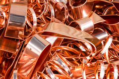 Scrapheap of copper foil (sheet) Royalty Free Stock Photography