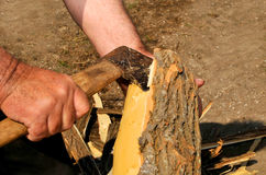 Scraping wood during the beautiful spring sunny day Royalty Free Stock Image