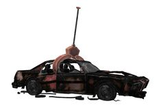 A scrapped car hoisted by a crane at a scrapyard. A computer generated illustration image of a scrapped car hoisted by a crane at a scrapyard against a white royalty free illustration