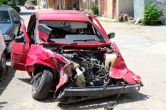 Scrapped car. Mountains roads and reckless drivers cause many car accidents in Bulgaria royalty free stock image