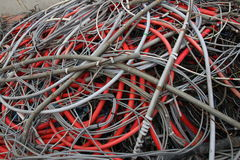 Scrapped electrical cables in electrical discharge Royalty Free Stock Photos