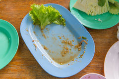 Scraps of food left in plastic dish on table Stock Photography