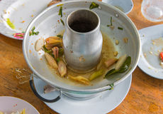 Scraps of food left in soup pot plastic dish on table Royalty Free Stock Images