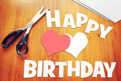 Scraps of paper with birthday greetings Royalty Free Stock Photo