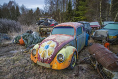Scrapyard for cars (volkswagen). The pictures are shot in january 2013 and shows different car wreck on a scrapyard for cars somewhere in sweden vector illustration