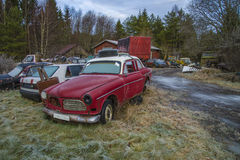 Scrapyard for cars (volvo amazon). The pictures are shot in january 2013 and shows different car wreck on a scrapyard for cars somewhere in sweden vector illustration