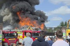 Scrapyard fire stock photos
