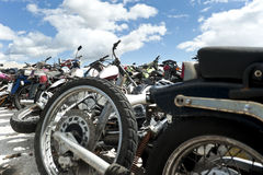 Motorcycles in a scrapyard Royalty Free Stock Photography