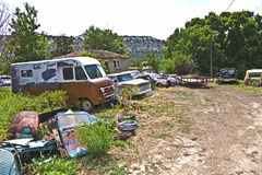 Scrapyard with oldtimers in the USA Stock Images