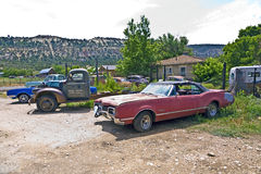 Scrapyard with oldtimers in the USA Royalty Free Stock Images