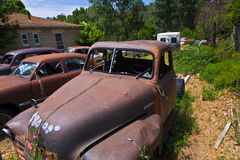 Scrapyard with vintage cars Royalty Free Stock Photography