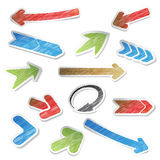 Scratch arrow stickers Royalty Free Stock Photography