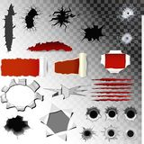 Scratch bullet holes vector of gunshot set gun shoot in holed metal target crack and scratching mark of animals claw. On black transparent background Royalty Free Stock Photos