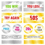 Scratch card game win lottery vector elements Royalty Free Stock Photo