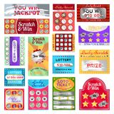 Scratch card set. Cards with a section may be scraped away to reveal a symbol of prize won in a competition, bright design. Vector flat style cartoon vector illustration