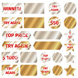 Scratch card vector elements. Scratch card elements. Win game lottery prize, grunge effect, vector illustration stock illustration