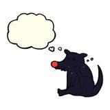 scratch del cane del fumetto con la bolla di pensiero Fotografia Stock