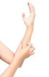 Scratch della mano della donna sul fondo bianco Immagini Stock Libere da Diritti
