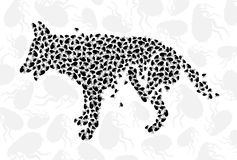 Scratch dog with Fleas. Scratch dog silhouette with Fleas. This image is a vector illustration and can be scaled to any size without loss of resolution Royalty Free Stock Image