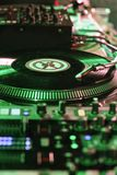Scratch and mixer equipment. Vinyls from dj to do scratching and hip hop music Royalty Free Stock Image