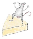 A scratch of a mouse on a piece of cheese Stock Images