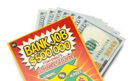 Scratch Off Lotto Ticket and Cash Close Up Royalty Free Stock Photo