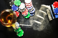 Scratch photo concept addiction cocaine alcohol glass drug. Social problem of drug addiction table with the track of a strange powder and twisted bill Royalty Free Stock Photos