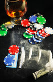 Scratch photo concept addiction cocaine alcohol glass drug. Social problem of drug addiction table with the track of a strange powder and twisted bill royalty free stock images