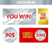 Scratch and win labels. Scratch marks effect.  Royalty Free Stock Images