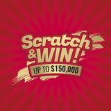 Scratch and win letters. Background scratching effect. Place for stock illustration