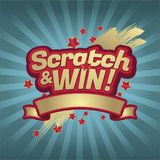 Scratch and win letters. Scratched effect background and stars. vector illustration