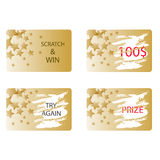 Scratch and win a prize card vector. Royalty Free Stock Photos