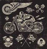 Scratchboard Motorcycle Elements Stock Photo