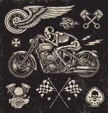 Scratchboard motorcykelbeståndsdelar Arkivfoto