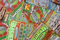 Scratchcards de la lotería Fotos de archivo libres de regalías