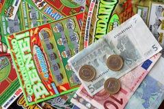 Scratchcards van de loterij Stock Foto's