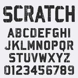 Scratched alphabet font template. Vintage letters and numbers grunge texture design. Vector illustration stock illustration