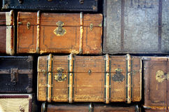 Scratched Antique Suitcases Royalty Free Stock Photos