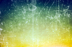 Scratched blue to green to yellow gradient background Royalty Free Stock Photography