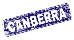 Scratched CANBERRA Framed Rounded Rectangle Stamp. CANBERRA stamp seal imprint with grunge texture. Seal shape is a rounded rectangle with frame. Blue vector royalty free illustration