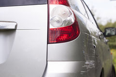 Scratched car. Scratched the car accident occurred Royalty Free Stock Images