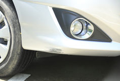 Scratched car front bumper Royalty Free Stock Photo