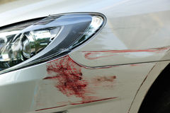 Scratched car front bumper royalty free stock image